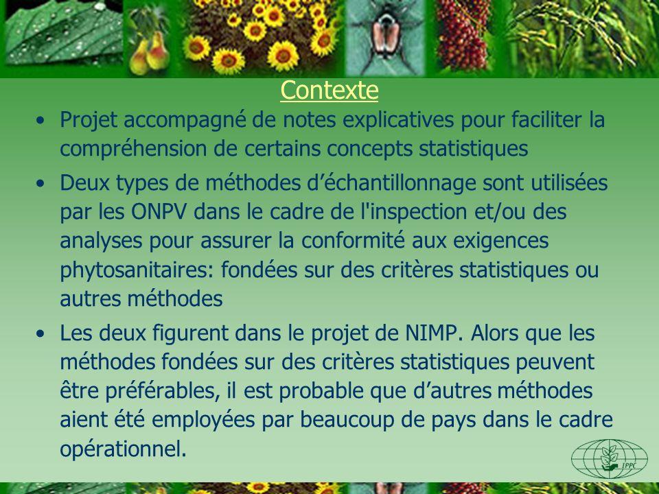 Contexte Projet accompagné de notes explicatives pour faciliter la compréhension de certains concepts statistiques Deux types de méthodes déchantillonnage sont utilisées par les ONPV dans le cadre de l inspection et/ou des analyses pour assurer la conformité aux exigences phytosanitaires: fondées sur des critères statistiques ou autres méthodes Les deux figurent dans le projet de NIMP.