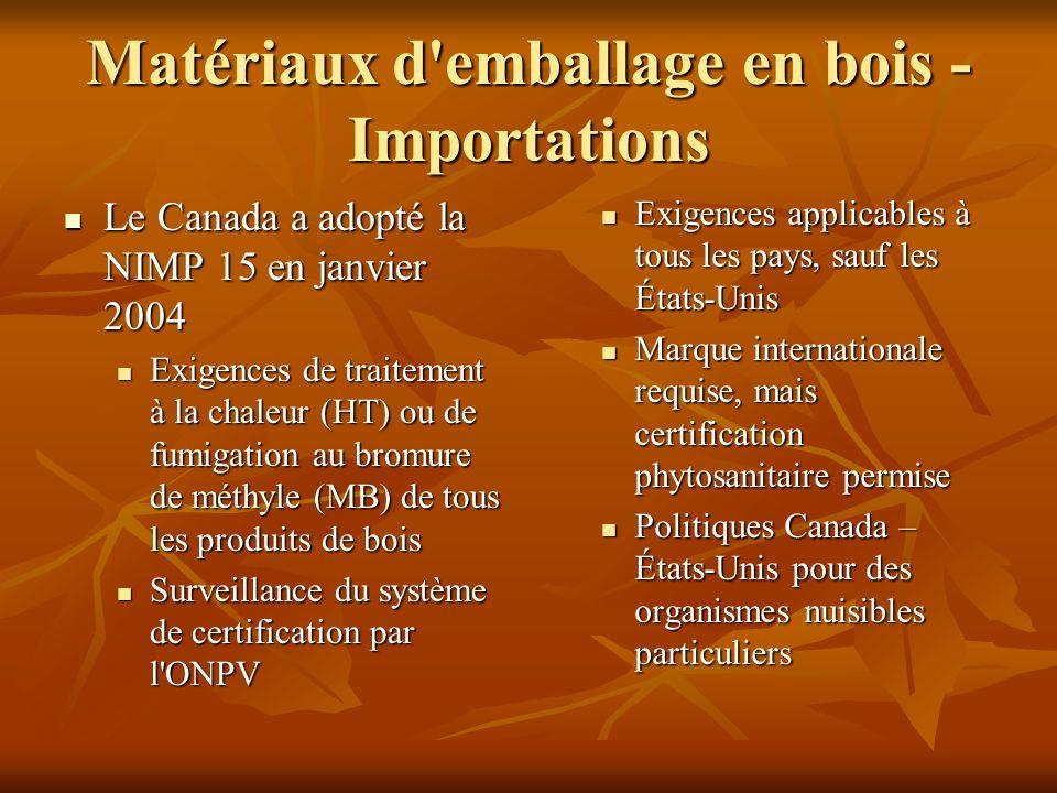 Matériaux d'emballage en bois - Importations Le Canada a adopté la NIMP 15 en janvier 2004 Le Canada a adopté la NIMP 15 en janvier 2004 Exigences de
