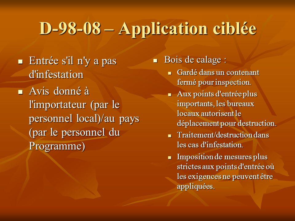 D-98-08 – Application ciblée Entrée s'il n'y a pas d'infestation Entrée s'il n'y a pas d'infestation Avis donné à l'importateur (par le personnel loca