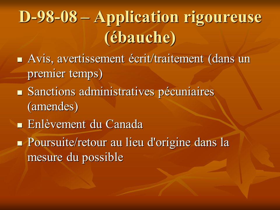 D-98-08 – Application rigoureuse (ébauche) Avis, avertissement écrit/traitement (dans un premier temps) Avis, avertissement écrit/traitement (dans un
