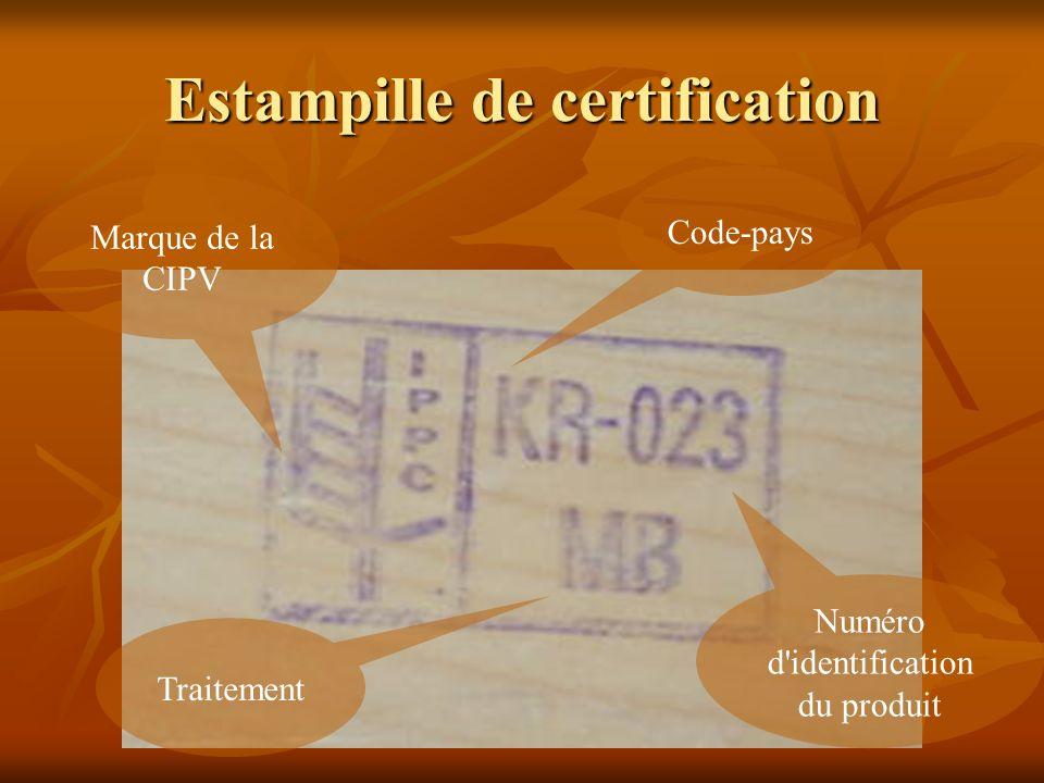 Code-pays Numéro d'identification du produit Traitement Marque de la CIPV Estampille de certification