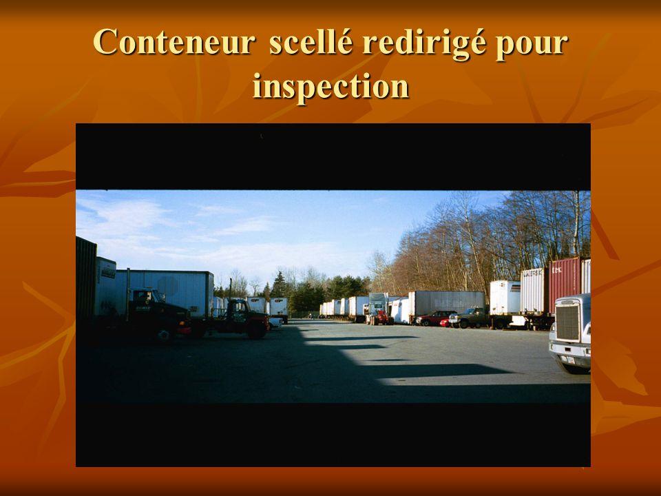 Conteneur scellé redirigé pour inspection