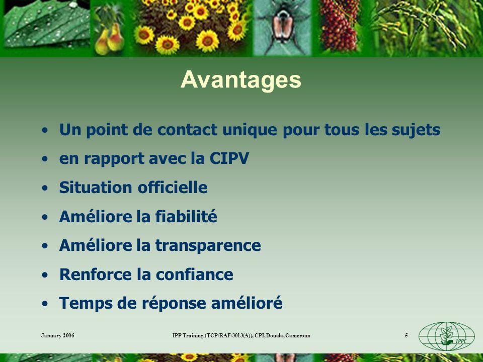 January 2006IPP Training (TCP/RAF/3013(A)), CPI, Douala, Cameroun5 Avantages Un point de contact unique pour tous les sujets en rapport avec la CIPV Situation officielle Améliore la fiabilité Améliore la transparence Renforce la confiance Temps de réponse amélioré