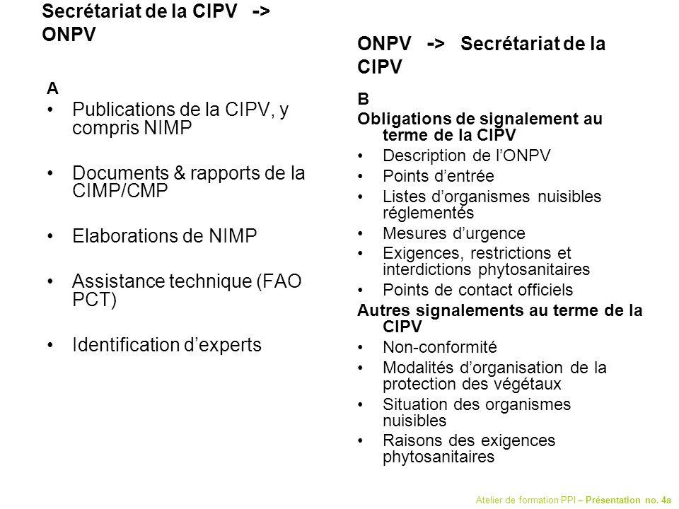 Secrétariat de la CIPV - > ONPV A Publications de la CIPV, y compris NIMP Documents & rapports de la CIMP/CMP Elaborations de NIMP Assistance techniqu
