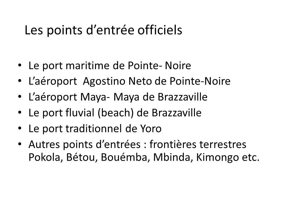 Le port maritime de Pointe- Noire Laéroport Agostino Neto de Pointe-Noire Laéroport Maya- Maya de Brazzaville Le port fluvial (beach) de Brazzaville L