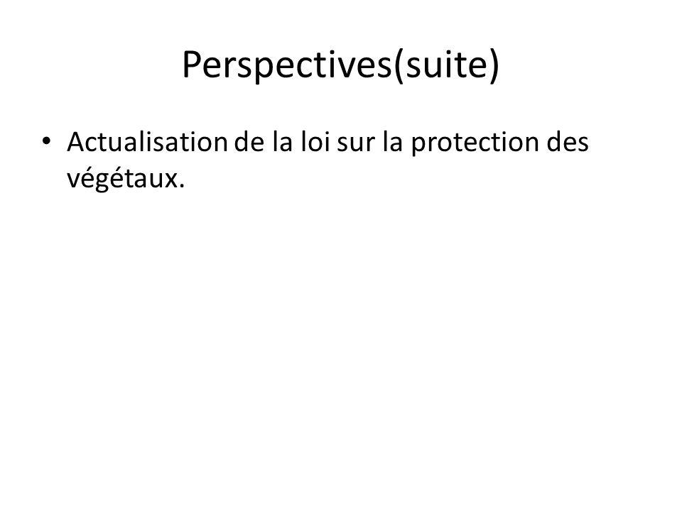 Perspectives(suite) Actualisation de la loi sur la protection des végétaux.
