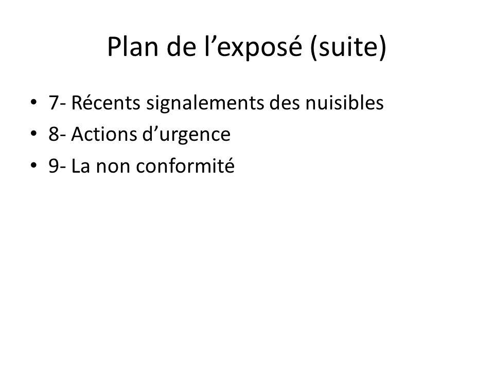 Plan de lexposé (suite) 7- Récents signalements des nuisibles 8- Actions durgence 9- La non conformité