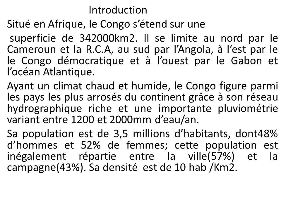 Introduction (suite) Le Congo dispose de 10 millons dha de terre cultivable mais à peine 2% est mise en valeur; les cultures vivrières(manioc, banane, arachide,etc) occupent 75% des terres, tandis que les cultures de rente couvrent les 25% restants.