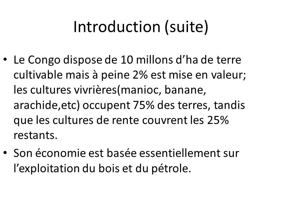 Introduction (suite) Le Congo dispose de 10 millons dha de terre cultivable mais à peine 2% est mise en valeur; les cultures vivrières(manioc, banane,