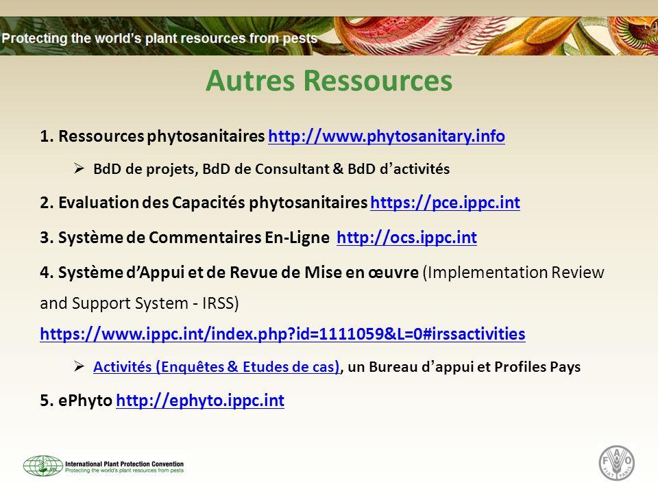 Autres Ressources 1. Ressources phytosanitaires http://www.phytosanitary.infohttp://www.phytosanitary.info BdD de projets, BdD de Consultant & BdD dac