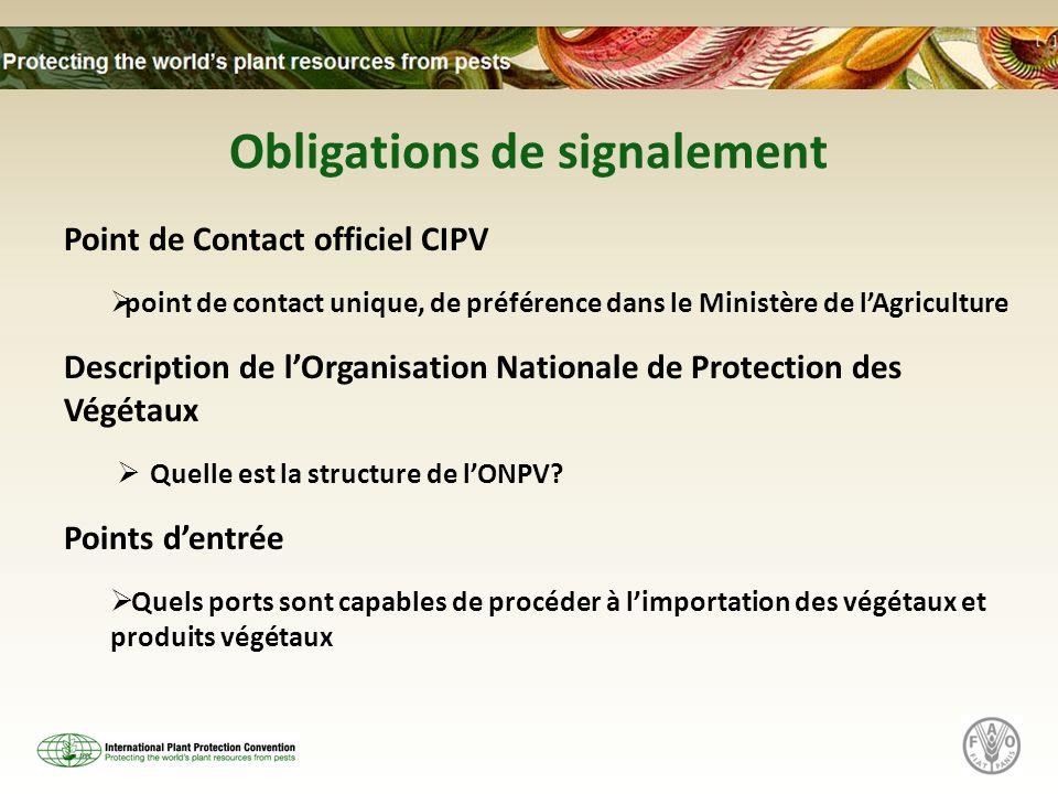 Obligations de signalement Point de Contact officiel CIPV point de contact unique, de préférence dans le Ministère de lAgriculture Description de lOrganisation Nationale de Protection des Végétaux Quelle est la structure de lONPV.