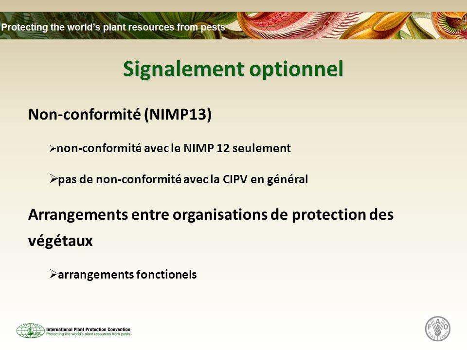 Signalement optionnel Non-conformité (NIMP13) non-conformité avec le NIMP 12 seulement pas de non-conformité avec la CIPV en général Arrangements entre organisations de protection des végétaux arrangements fonctionels