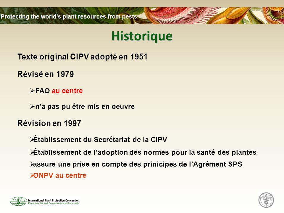 Historique Texte original CIPV adopté en 1951 Révisé en 1979 FAO au centre na pas pu être mis en oeuvre Révision en 1997 Établissement du Secrétariat de la CIPV Établissement de ladoption des normes pour la santé des plantes assure une prise en compte des prinicipes de lAgrément SPS ONPV au centre