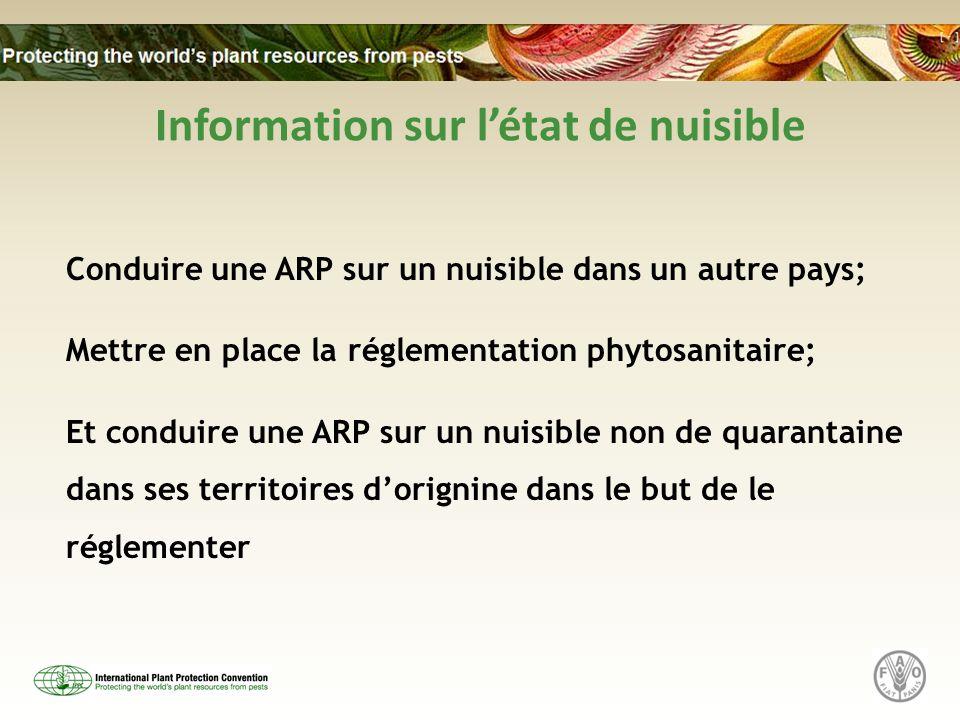 Information sur létat de nuisible Conduire une ARP sur un nuisible dans un autre pays; Mettre en place la réglementation phytosanitaire; Et conduire une ARP sur un nuisible non de quarantaine dans ses territoires dorignine dans le but de le réglementer