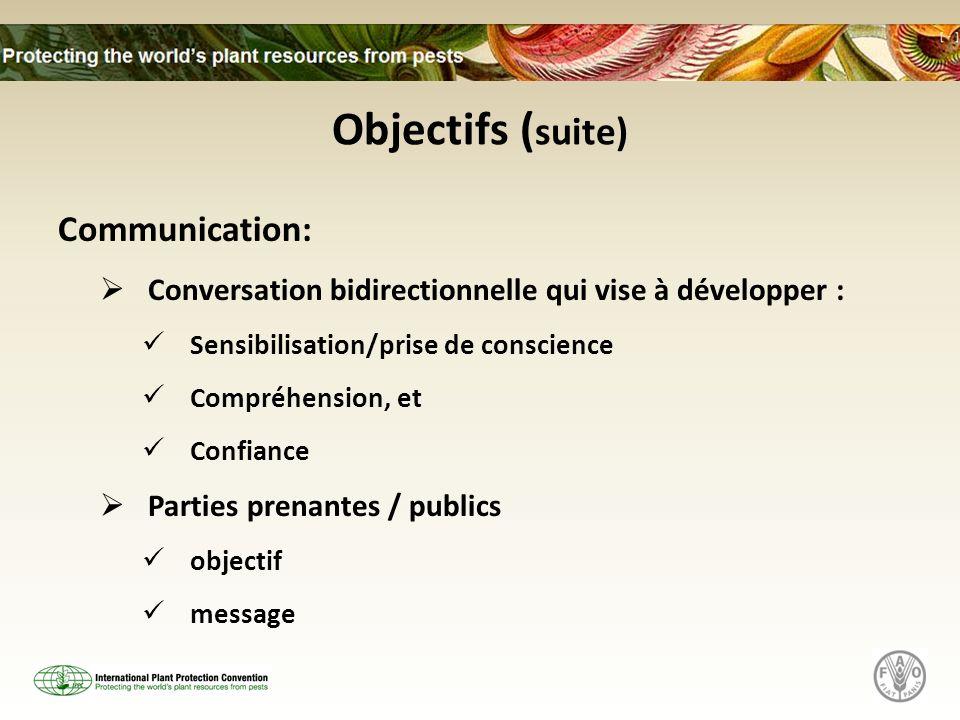 Objectifs ( suite) Communication: Conversation bidirectionnelle qui vise à développer : Sensibilisation/prise de conscience Compréhension, et Confiance Parties prenantes / publics objectif message