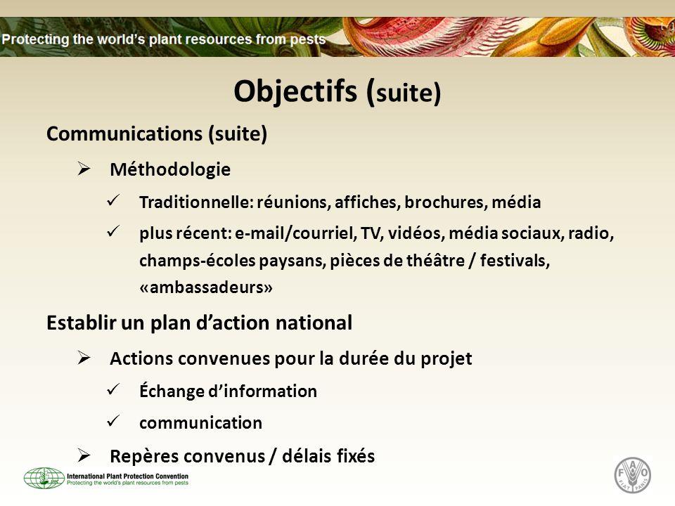 Objectifs ( suite) Communications (suite) Méthodologie Traditionnelle: réunions, affiches, brochures, média plus récent: e-mail/courriel, TV, vidéos,