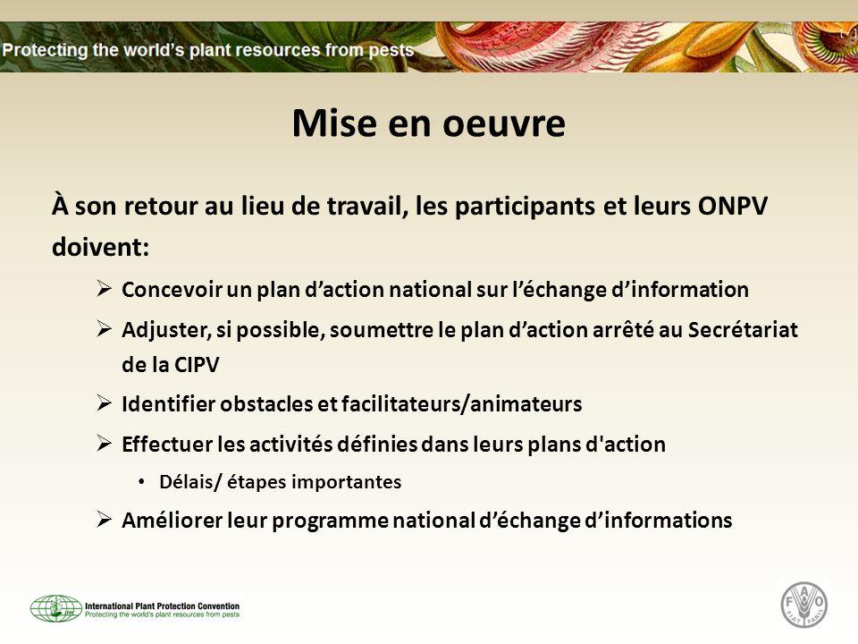 Mise en oeuvre À son retour au lieu de travail, les participants et leurs ONPV doivent: Concevoir un plan daction national sur léchange dinformation A