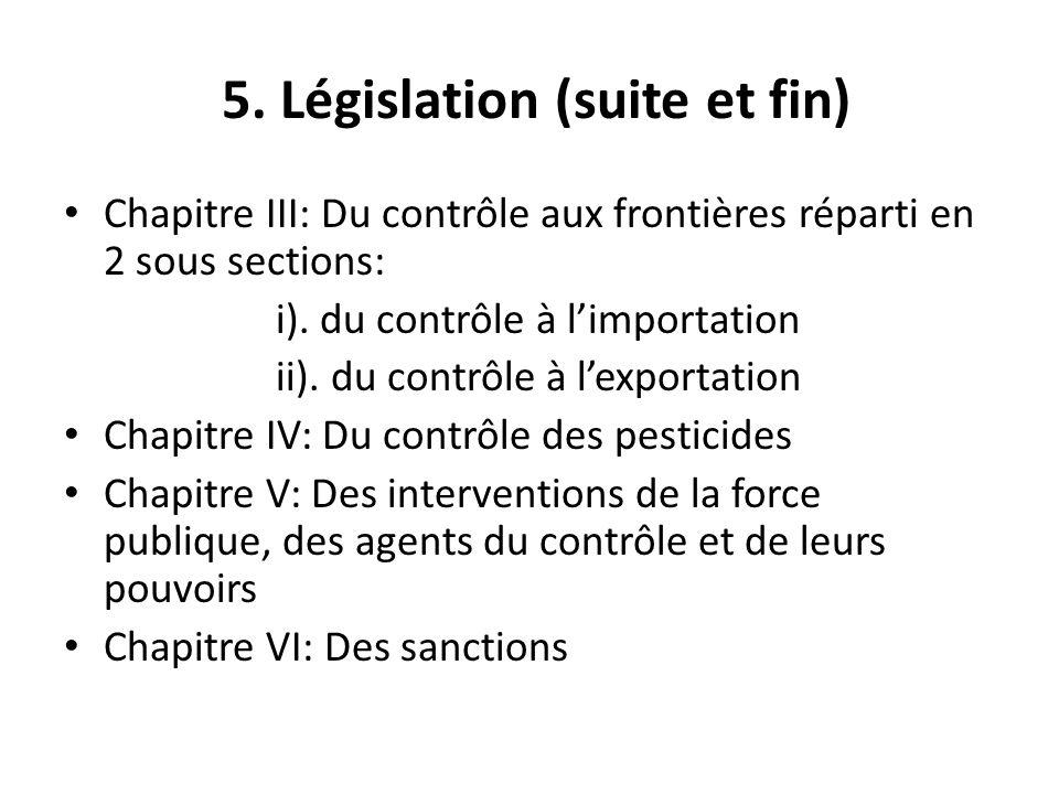 5. Législation (suite et fin) Chapitre III: Du contrôle aux frontières réparti en 2 sous sections: i). du contrôle à limportation ii). du contrôle à l