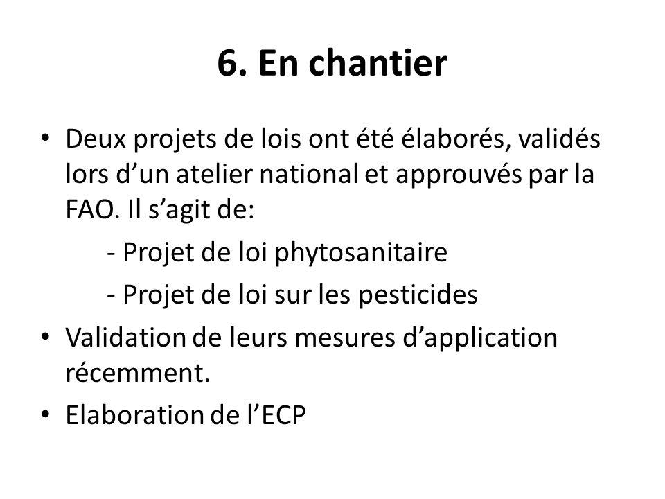 6. En chantier Deux projets de lois ont été élaborés, validés lors dun atelier national et approuvés par la FAO. Il sagit de: - Projet de loi phytosan