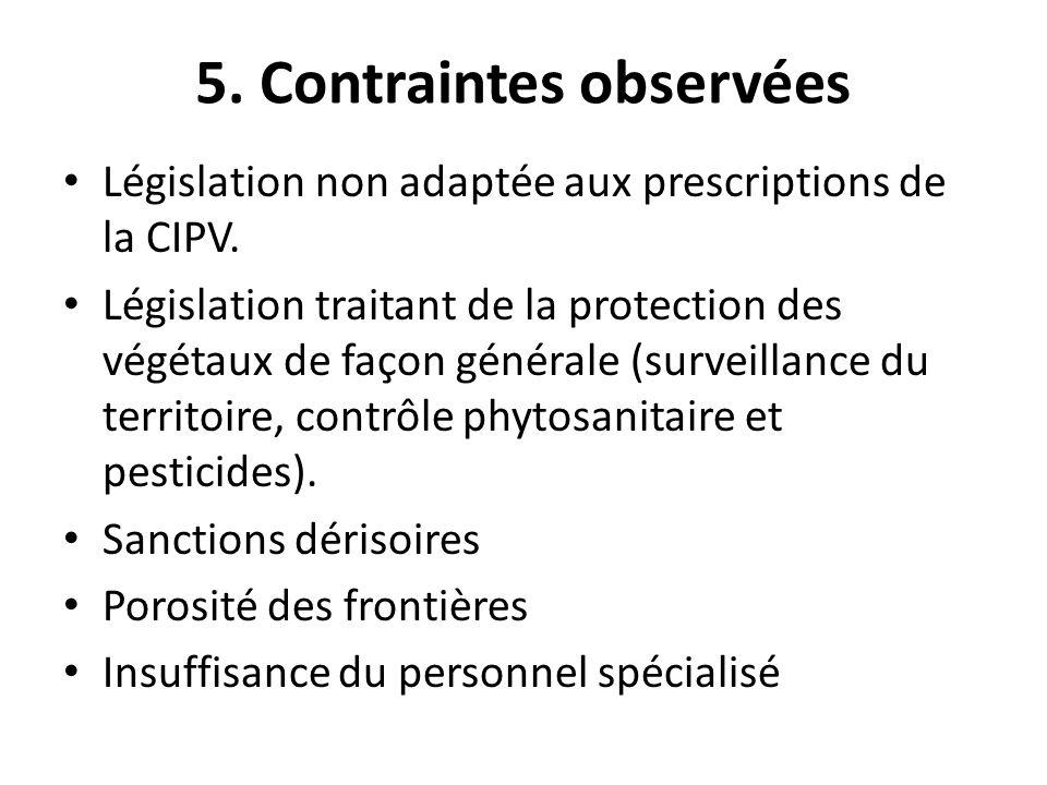 5. Contraintes observées Législation non adaptée aux prescriptions de la CIPV. Législation traitant de la protection des végétaux de façon générale (s