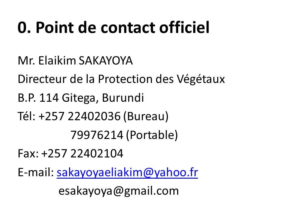 0. Point de contact officiel Mr. Elaikim SAKAYOYA Directeur de la Protection des Végétaux B.P. 114 Gitega, Burundi Tél: +257 22402036 (Bureau) 7997621