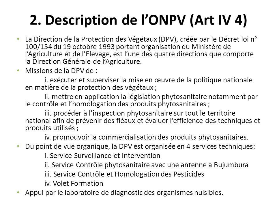 2. Description de lONPV (Art IV 4) La Direction de la Protection des Végétaux (DPV), créée par le Décret loi n° 100/154 du 19 octobre 1993 portant org