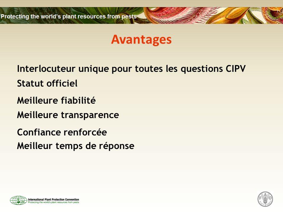Avantages Interlocuteur unique pour toutes les questions CIPV Statut officiel Meilleure fiabilité Meilleure transparence Confiance renforcée Meilleur temps de réponse