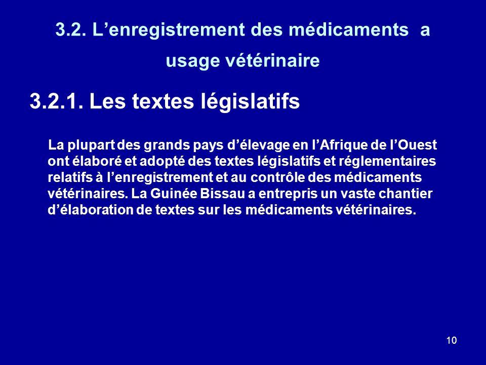 10 3.2. Lenregistrement des médicaments a usage vétérinaire 3.2.1. Les textes législatifs La plupart des grands pays délevage en lAfrique de lOuest on