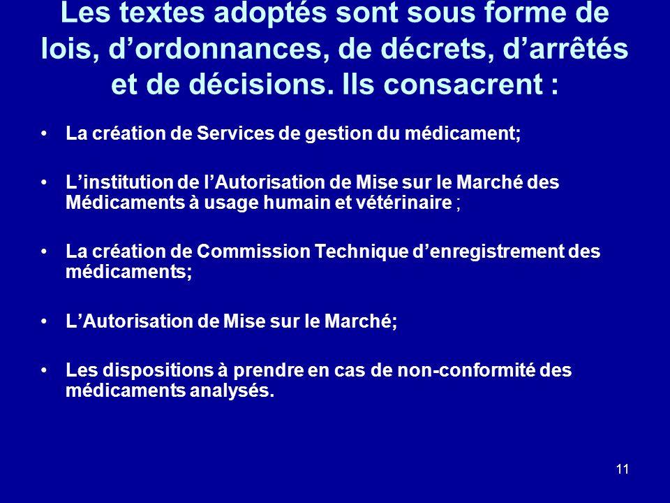 11 Les textes adoptés sont sous forme de lois, dordonnances, de décrets, darrêtés et de décisions. Ils consacrent : La création de Services de gestion