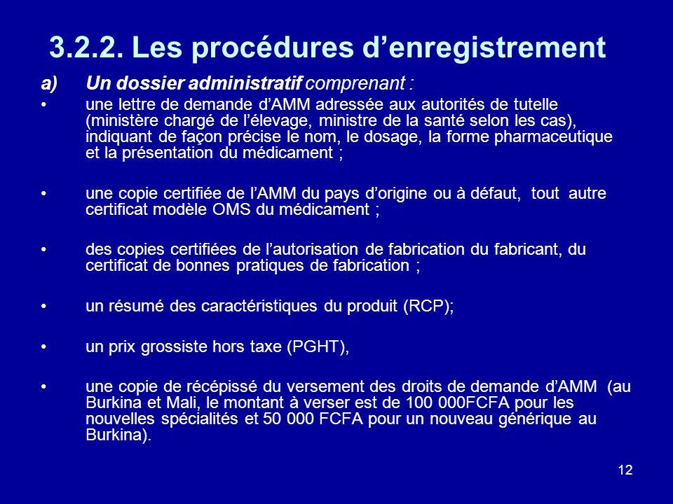 12 3.2.2. Les procédures denregistrement a)Un dossier administratif comprenant : une lettre de demande dAMM adressée aux autorités de tutelle (ministè