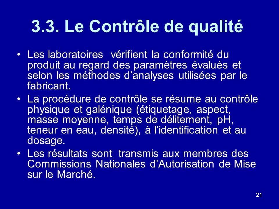 21 3.3. Le Contrôle de qualité Les laboratoires vérifient la conformité du produit au regard des paramètres évalués et selon les méthodes danalyses ut