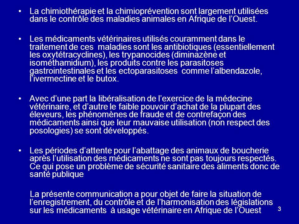 3 La chimiothérapie et la chimioprévention sont largement utilisées dans le contrôle des maladies animales en Afrique de lOuest. Les médicaments vétér