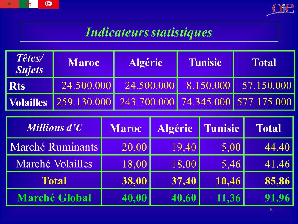 8 Indicateurs statistiques Têtes/ Sujets MarocAlgérieTunisieTotal Rts 24.500.000 8.150.00057.150.000 Volailles 259.130.000243.700.00074.345.000577.175.000 Millions d MarocAlgérieTunisieTotal Marché Ruminants 20,0019,405,0044,40 Marché Volailles 18,00 5,4641,46 Total 38,0037,4010,4685,86 Marché Global 40,0040,6011,3691,96