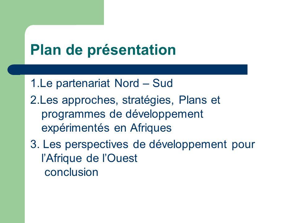 Plan de présentation 1.Le partenariat Nord – Sud 2.Les approches, stratégies, Plans et programmes de développement expérimentés en Afriques 3.