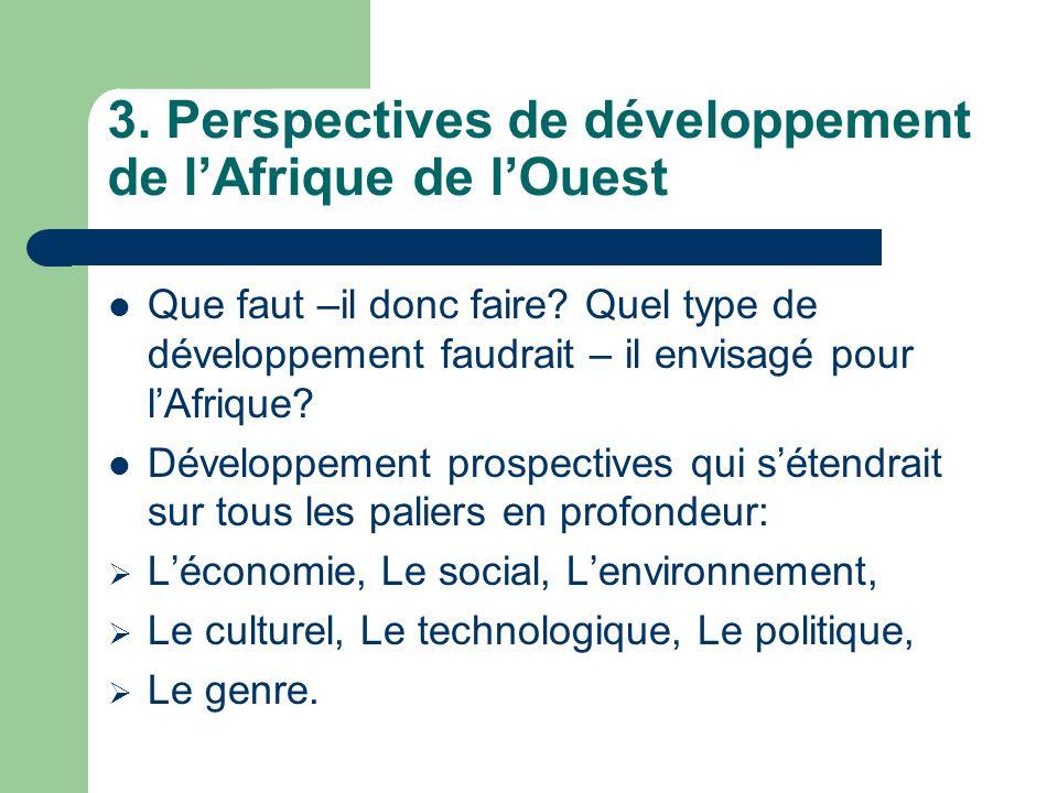3. Perspectives de développement de lAfrique de lOuest Que faut –il donc faire? Quel type de développement faudrait – il envisagé pour lAfrique? Dével