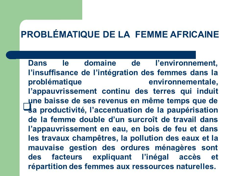 PROBLÉMATIQUE DE LA FEMME AFRICAINE Dans le domaine de lenvironnement, linsuffisance de lintégration des femmes dans la problématique environnementale