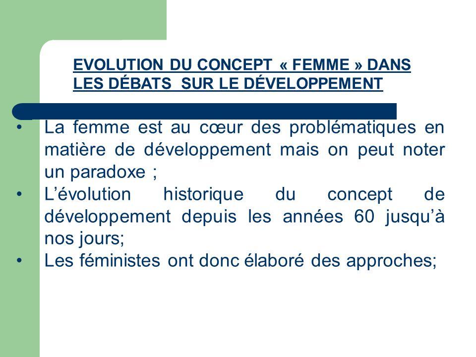 La femme est au cœur des problématiques en matière de développement mais on peut noter un paradoxe ; Lévolution historique du concept de développement