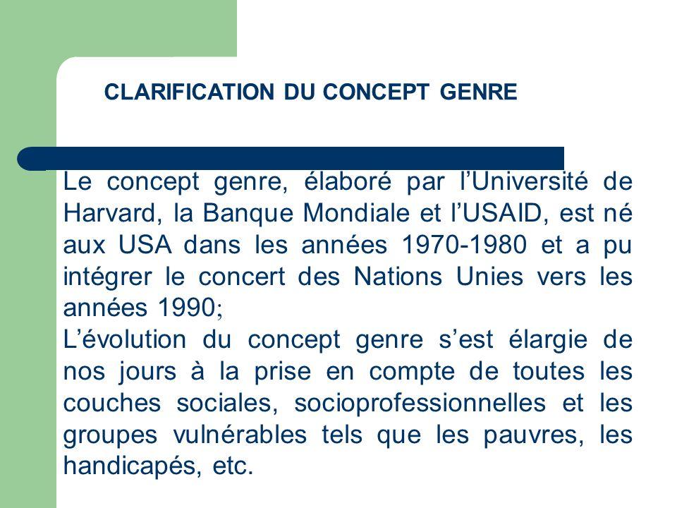 Le concept genre, élaboré par lUniversité de Harvard, la Banque Mondiale et lUSAID, est né aux USA dans les années 1970-1980 et a pu intégrer le conce