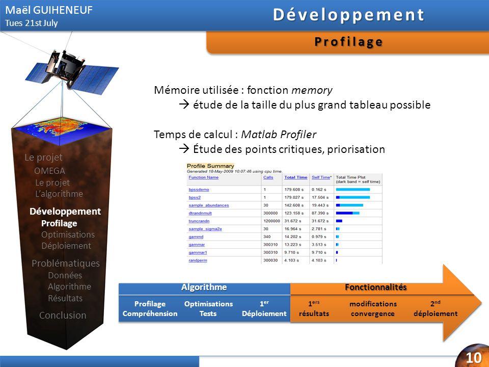 Maël GUIHENEUF Tues 21st JulyDéveloppement Maël GUIHENEUF Tues 21st JulyProfilage 10 Le projet OMEGA Le projet Lalgorithme Développement Profilage Opt