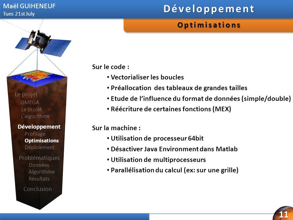 Sur la machine : Utilisation de processeur 64bit Désactiver Java Environment dans Matlab Utilisation de multiprocesseurs Parallélisation du calcul (ex