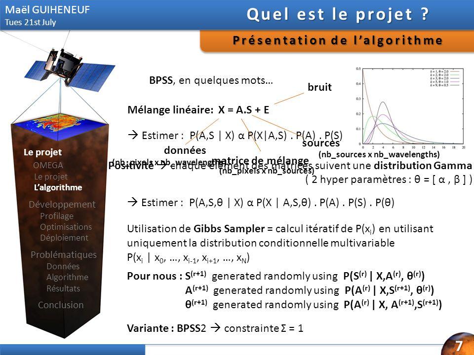 Mélange linéaire: X = A.S + E Estimer : P(A,S | X) α P(X|A,S). P(A). P(S) Positivité chaque élément des matrices suivent une distribution Gamma ( 2 hy