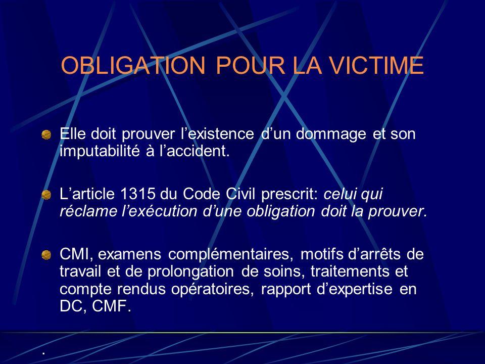 OBLIGATION POUR LA VICTIME Elle doit prouver lexistence dun dommage et son imputabilité à laccident. Larticle 1315 du Code Civil prescrit: celui qui r