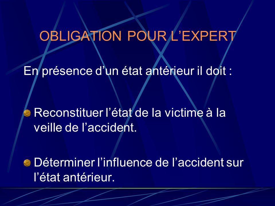 OBLIGATION POUR LEXPERT En présence dun état antérieur il doit : Reconstituer létat de la victime à la veille de laccident. Déterminer linfluence de l