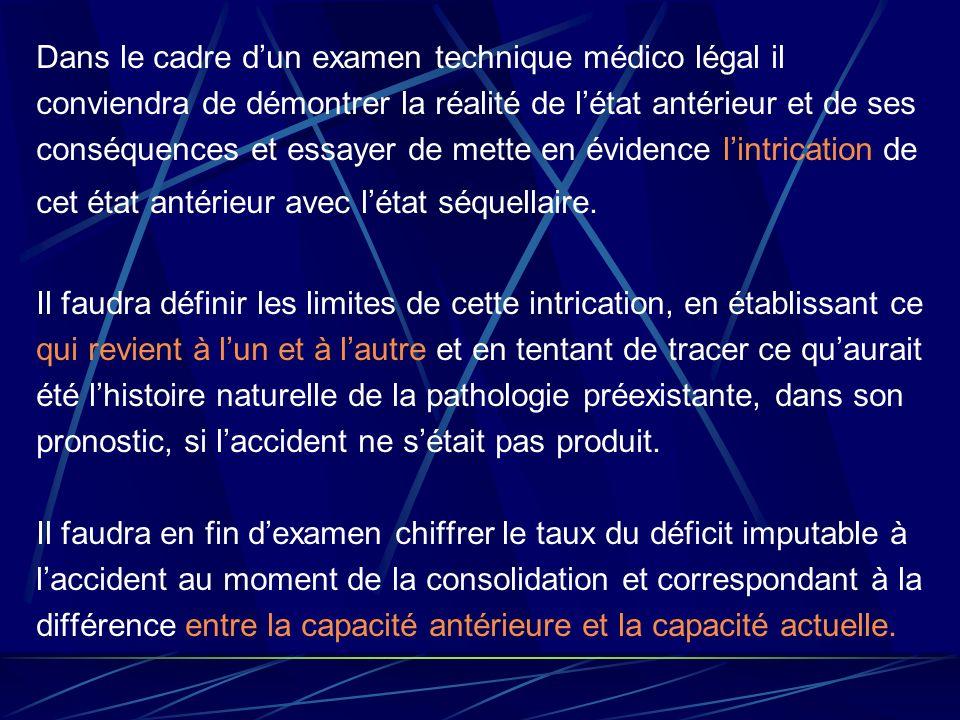 Dans le cadre dun examen technique médico légal il conviendra de démontrer la réalité de létat antérieur et de ses conséquences et essayer de mette en