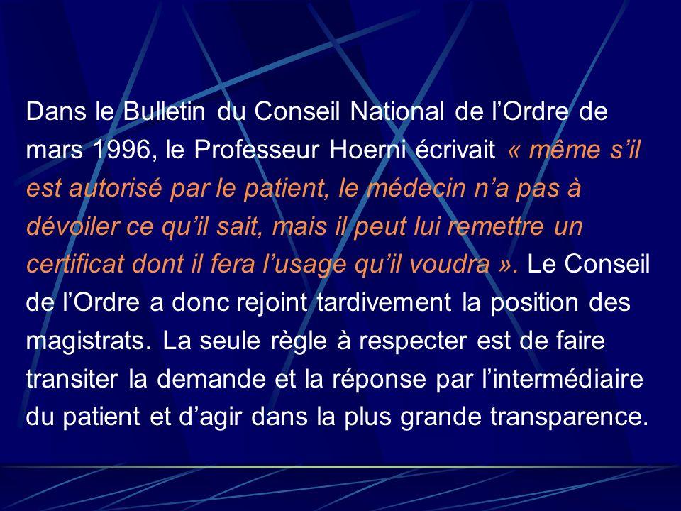 Dans le Bulletin du Conseil National de lOrdre de mars 1996, le Professeur Hoerni écrivait « même sil est autorisé par le patient, le médecin na pas à
