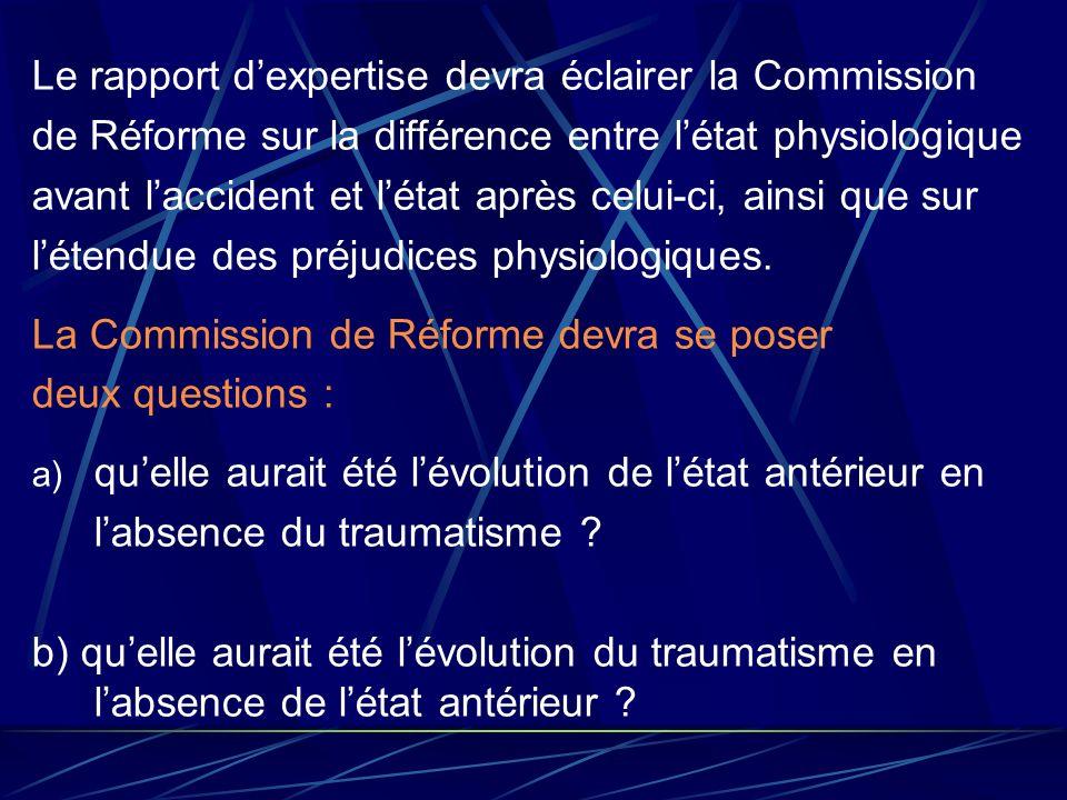 Le rapport dexpertise devra éclairer la Commission de Réforme sur la différence entre létat physiologique avant laccident et létat après celui-ci, ain