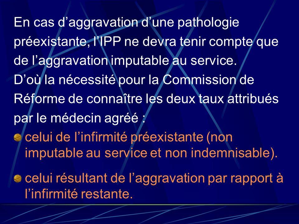En cas daggravation dune pathologie préexistante, lIPP ne devra tenir compte que de laggravation imputable au service. Doù la nécessité pour la Commis