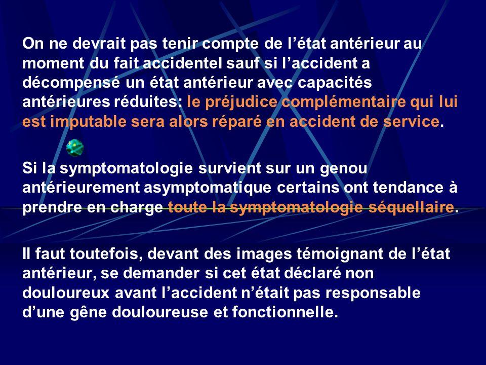 On ne devrait pas tenir compte de létat antérieur au moment du fait accidentel sauf si laccident a décompensé un état antérieur avec capacités antérie