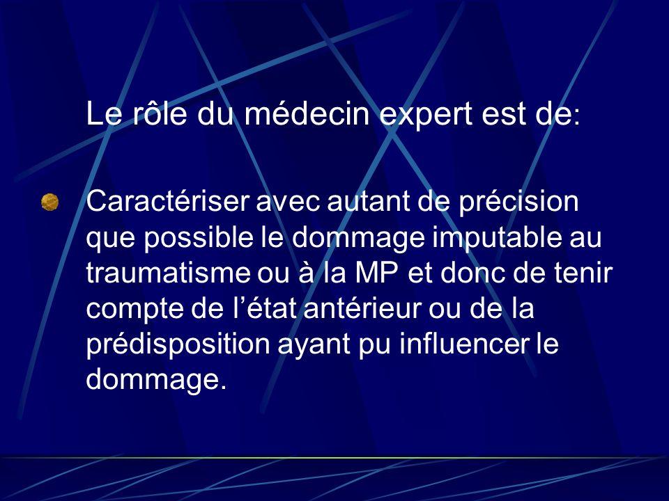 Le rôle du médecin expert est de : Caractériser avec autant de précision que possible le dommage imputable au traumatisme ou à la MP et donc de tenir