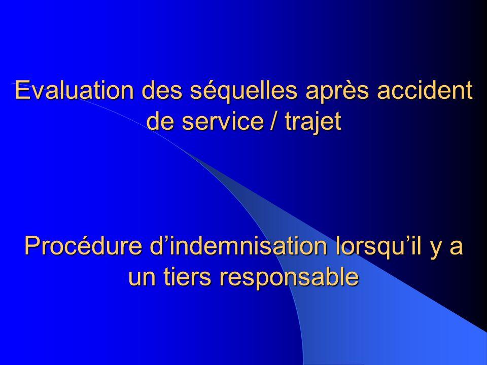 Evaluation des séquelles après accident de service / trajet Procédure dindemnisation lorsquil y a un tiers responsable
